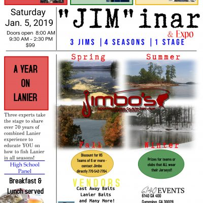 Jimbo On Lanier Bass Fishing Seminar Fall:Winter 2018